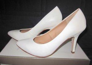 SEXY Schuhe Absatz Absatzschuhe 9,5cm weiß creme High Heels Pumps 37 5 Klassisch NEU