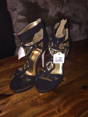 Sexy schwarz-goldene HighHeels - NEU mit Etikett!
