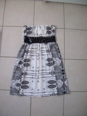 sexy schwarz-weiß gemustertes Kleid von Amisu Gr. 40 schulterfrei Gürtel