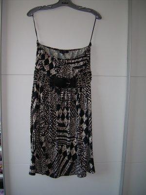 sexy schwarz-weiß gemustertes Kleid von Amisu Gr. 42 schulterfrei Gürtel
