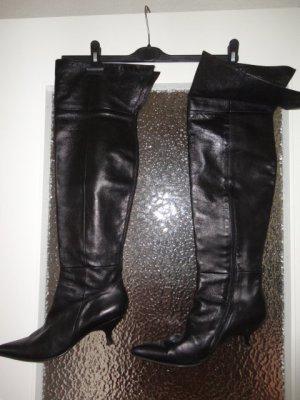 Sexy schwarze Leder Overknee Stiefel Gr. 39 ½
