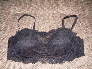 sexy schwarzer BH Bralette mit Spitze Gr. 80A von Hunkemöller trägerlos möglich