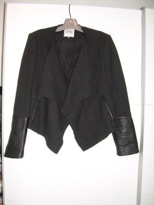 sexy schwarzer Blazer Jacke von Zara Gr. L 40 mit Leder-Details