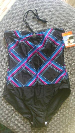 Sexy Schwarzer Neckholder Badeanzug mit Muster Gr.40/42-Neu