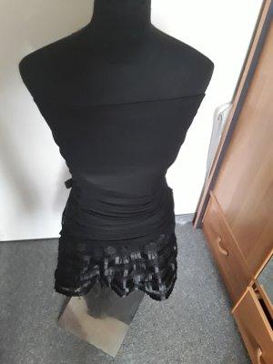 sexy schwarzes Bandeaukleid - Faltenwurf - mit Schleife - Thena - Größe S/M
