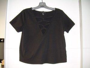 sexy schwarzes Cropped Top T-Shirt mit Schnürung Forever 21 Plus Gr. 44 XL