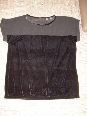 sexy schwarzes Samt T-Shirt mit Chiffon von Esprit Gr. XL Gothic