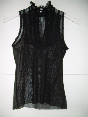sexy schwarzes transparentes Netz-Top mit Rüschen und Spitze Mango Gr S Gothic