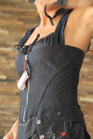 Sexy Seidenkleid - modernes Dirndl - nachtblau - Minikleid
