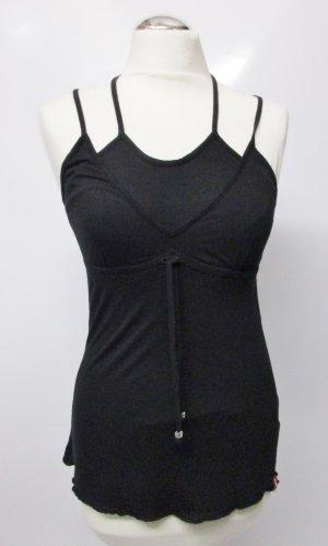 Sexy Shirt Top Neckholder edc by Esprit Größe S 36 Schwarz Layer Look Hemdchen Viskose Schleife Bänder