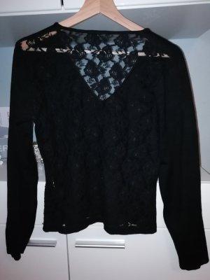 Sexy Spitzen langarm shirt pullover mit v-Ausschnitt und Spitze