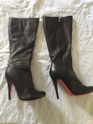 High Heel Boots black-dark red