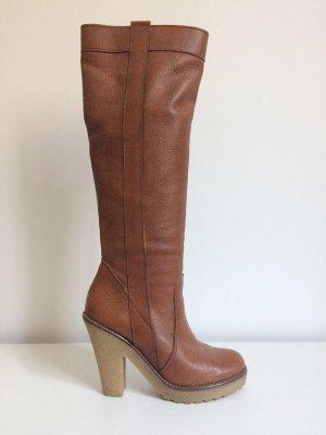 Sexy Stiefel in Cognac mit Plateau-Sohle / Übergangsstiefel