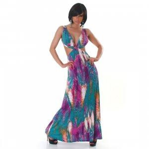 Hippie Dress violet-meadow green polyester