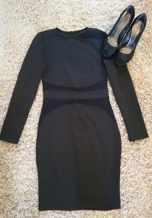 Sexy Stretchkleid in Schwarz mit Netzeinsätzen Gr. S