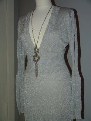 °°°SEXY V-Ausschnitt-Pulli / Kleid, H&M, Gr.M, Silber, NEU°°°
