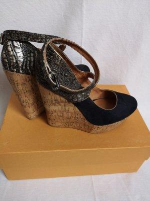 Alisha Zapatos de cuña marrón grisáceo-azul oscuro