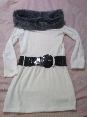 Sexy weicher Longpullover mit Kunstfellkragen und Gürtel