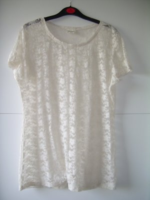 sexy weißes T-Shirt aus transparenter Spitze mit Blumen von H&M Gr. L 40-42