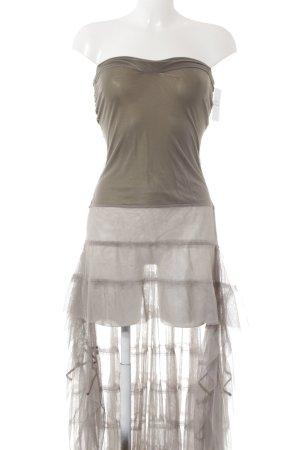Sexy Woman schulterfreies Kleid grüngrau Transparenz-Optik