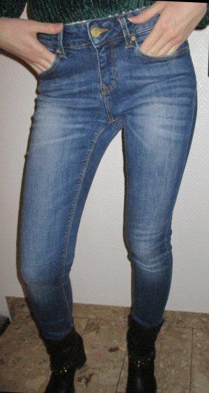 Zara Basic Drainpipe Trousers dark blue-blue cotton