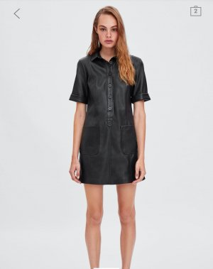 sexy ZARA Lederkleid Hemdkleid im 60s Stil XXL