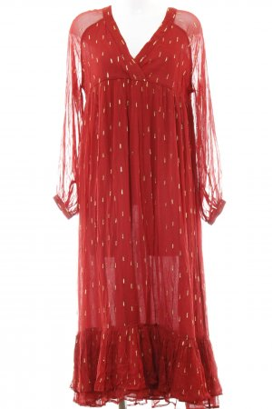 Sezane Babydoll Dress dark red-gold-colored Boho look