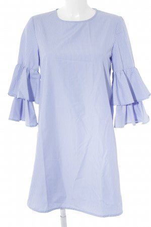 Sfera Blusenkleid weiß-himmelblau Streifenmuster Casual-Look