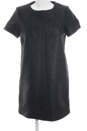 Sfera Lederkleid schwarz Streifenmuster Elegant