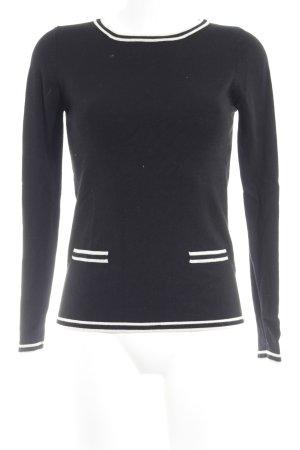 Sfera Rundhalspullover schwarz-weiß Casual-Look