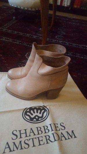 Shabbies Amsterdam Stiefeletten Boots Blockabsatz Leder
