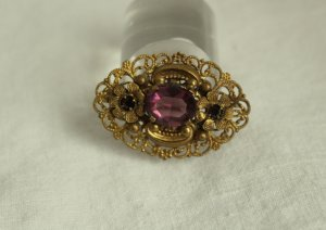 Brooch gold-colored-purple