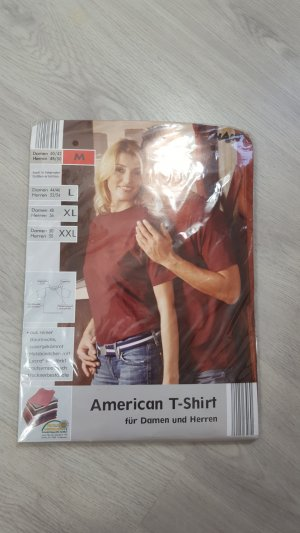 Shamp American T-Shirt für Damen & Herren Shirt NEU weinrot Größe M