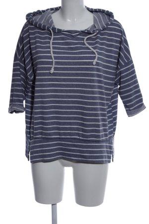 Shana Jersey con capucha azul-blanco estampado a rayas look casual