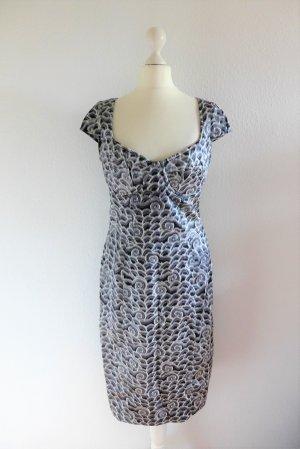 Shanghai Tang Kleid Seide Muster grau weiß silber US10 dt38