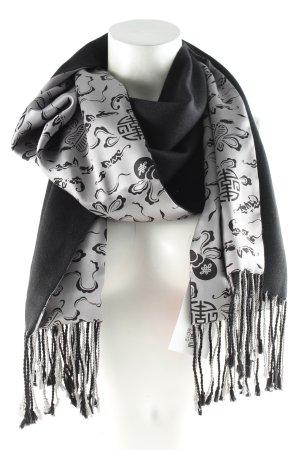 Shanghai Tang Bufanda de seda negro-color plata estampado temático look casual
