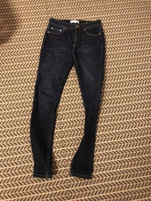 Mango Stretch jeans donkerblauw-blauw