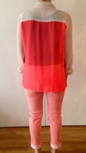 She Bluse Creme Neon Orange/Pink Gr 42