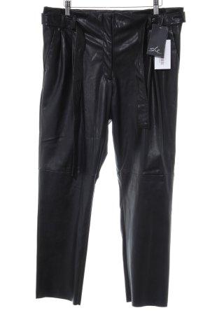 She Pantalone in pelle nero-marrone-nero stile da moda di strada