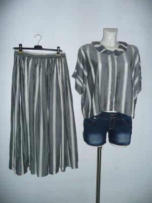 She Twin Set Crop Top + Maxirock grau weiß gestreift Gr L