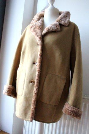 Fake Fur Coat sand brown fake fur
