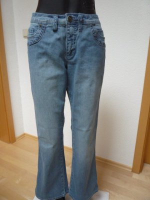 Sheego Pantalon strech bleu azur coton