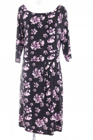 Sheego Langarmkleid schwarz-violett Blumenmuster Casual-Look