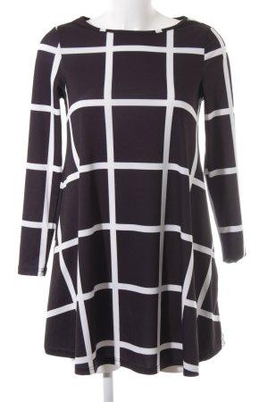 SheIn A-Linien Kleid weiß-schwarz Karomuster Casual-Look