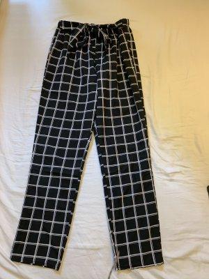SheIn Peg Top Trousers white-black