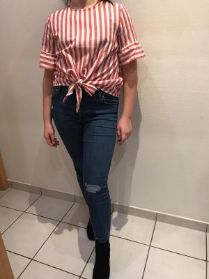 SheIn T-shirt court blanc-rouge