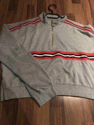 Shein Pullover mit Streifen und Reißverschluss
