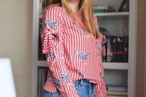 Shein Sheinside Bluse Streifen Kranich Rot Weiß 36 38 S M Schleifen