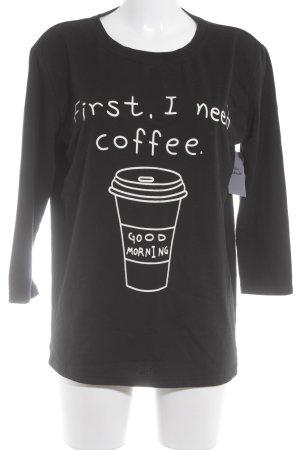 SheIn Sweatshirt schwarz-weiß Motivdruck Casual-Look
