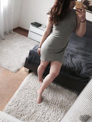 Sheinside Blogger-Kleid grau gerippt sexy